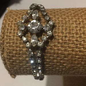 Vintage clear rhinestone bracelet silver tone